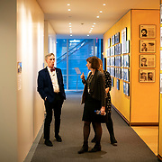 April 17, 2018 - New York, NY : The New York Times hosted Bill Nye for a conversation about climate change with New York Times science writer James Gorman and NYC Rising producer Geraldine Moriba at The Times building on Tuesday evening.  Here, Nye, left, before the talk. CREDIT: Karsten Moran for The New York Times