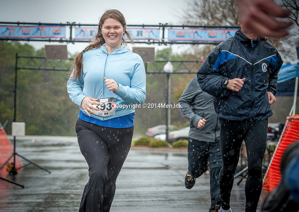 Soggy footsteps reverberated throughout Men, Ink's. Inaugural Pints-4-Prostate 10K Run and Balls Out 1-Miler as more than 50 competitors took to Wilmington's Cross City Trail finishing at Henry's Restaurant for celebratory beer and festivities Saturday February 8, 2014.  Photos Property of Men, Ink. - Be A Better Man