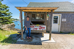 Co-op manager Emily Lane at the Vinalhaven Fishermen's Co-op in Vinalhaven, Maine.