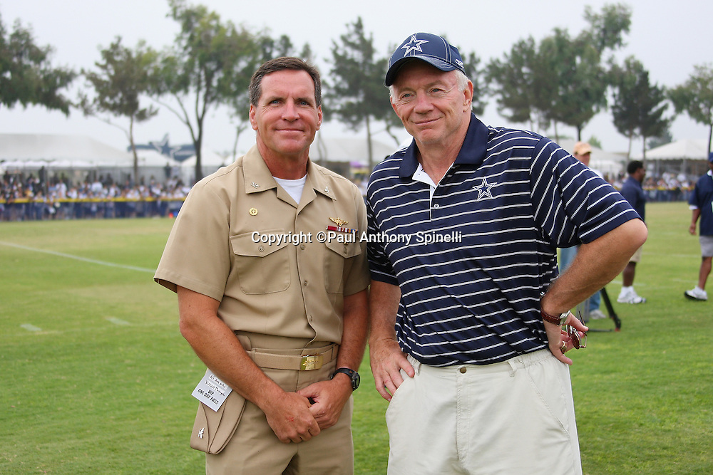 "OXNARD, CA - AUGUST 01:  Team Owner, President and General Manager Jerry Jones (right) of the Dallas Cowboys poses for a photo with Captain Brad ""Brick"" Conners, the Commanding Officer of the Naval Base Ventura County, during the 2008 Dallas Cowboys Training Camp at River Ridge Field in Oxnard, California on August 1, 2008. ©Paul Anthony Spinelli *** Local Caption *** Jerry Jones;Brad Conners"