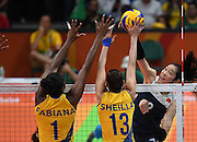 RIO DE JANEIRO, BRAZIL - AUGUST 16:<br /> <br /> Ting Zhu #2 of China in action during the Women\'s Quarterfinal match between China and Brazil on day 11 of the Rio 2106 Olympic Games at the Maracanazinho on August 16, 2016 in Rio de Janeiro, Brazil. <br /> ©Exclusivepix Media