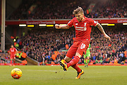 Liverpool defender Alberto Moreno  with a shot during the Barclays Premier League match between Liverpool and Sunderland at Anfield, Liverpool, England on 6 February 2016. Photo by Simon Davies.