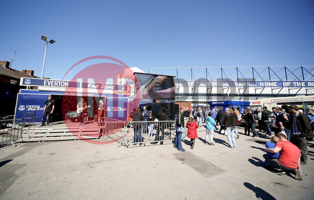 A general view of the fan zone outside Goodison Park ahead of the Barclays Premier League match between Everton and Burnley - Photo mandatory by-line: Matt McNulty/JMP - Mobile: 07966 386802 - 18/04/2015 - SPORT - Football - Liverpool - Goodison Park - Everton v Burnley - Barclays Premier League