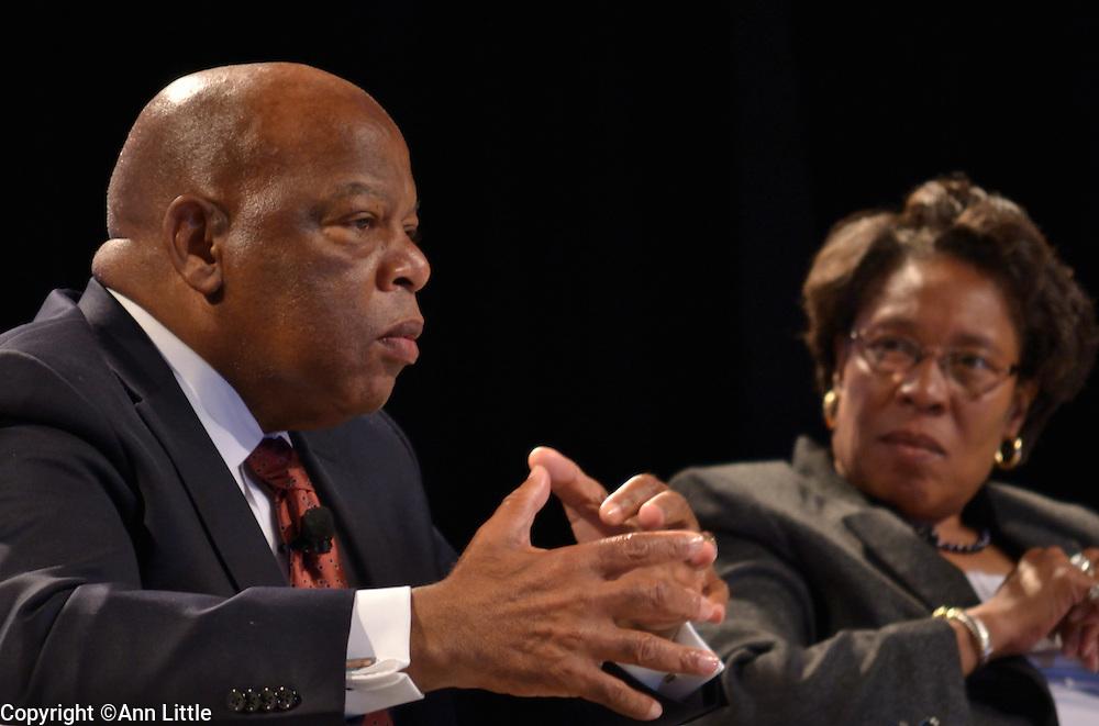 Rep. John Lewis, Democrat-Georgia, and Rep. Marcia Fudge, Democrat-Ohio, speak at conference sponsored by Congressional Black Caucus in Washington, DC.