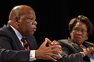 Rep. John Lewis, Democrat-Georgia, and Rep. Marcia Fudge, Democrat-Ohio, speak at conference sponsored by Congressional Black Caucus in Washington, DC.