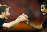 In action for  Rafael van der Vaart he celebrates his goal   with Ibrahim Afellay (r) The Netherlands versus    Slovakia during friendly soccer match between Netherlands vs Slovakia in Rotterdam on May 30, 2012. AFP PHOTO/ ROBIN UTRECHT