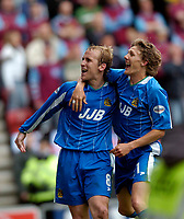 Photo. Jed Wee.<br /> Wigan Athletic v West Ham United, Nationwide League Division One, 09/05/2004.<br /> Wigan's Neil Roberts (L) celebrates his goal with Jimmy Bullard.