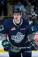 KELOWNA, CANADA - APRIL 25: Tyler Adams #17 of the Seattle Thunderbirds skates against the Kelowna Rockets on April 25, 2017 at Prospera Place in Kelowna, British Columbia, Canada.  (Photo by Marissa Baecker/Shoot the Breeze)  *** Local Caption ***