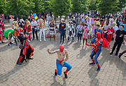 UNITED KINGDOM, London: 27 May 2018 Cosplay fans have a dance-off outside of the MCM London Comic Con earlier today. The three day comic convention, which is held at London's ExCeL, was visited by thousands of avid cosplay fans and enthusiasts. Rick Findler / Story Picture Agency