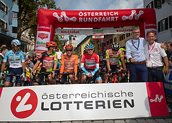 12.07.2019, Kitzbühel, AUT, Ö-Tour, Österreich Radrundfahrt, 6. Etappe, von Kitzbühel nach Kitzbüheler Horn (116,7 km), im Bild v.l. Jonas Koch (GER, CCC Team), Riccardo Zoidl (AUT, CCC Team), Ben Hermans (BEL, Israel Cycling Academy), Georg Zimmermann (GER, Tirol KTM Cycling Team), Bgm Kitzbühel Klaus Winkler, Franz Steinberger (Ö-Tour Direktor) // f.l. Jonas Koch of Germany (CCC Team) Riccardo Zoidl of Austria (CCC Team) Ben Hermans of Belgium Team Israel Cycling Academy Georg Zimmermann of Germany (Tirol KTM Cycling Team) Major of Kitzbühel Klaus Winkler Franz Steinberger director Tour of Austria during 6th stage from Kitzbühel to Kitzbüheler Horn (116,7 km) of the 2019 Tour of Austria. Kitzbühel, Austria on 2019/07/12. EXPA Pictures © 2019, PhotoCredit: EXPA/ Reinhard Eisenbauer