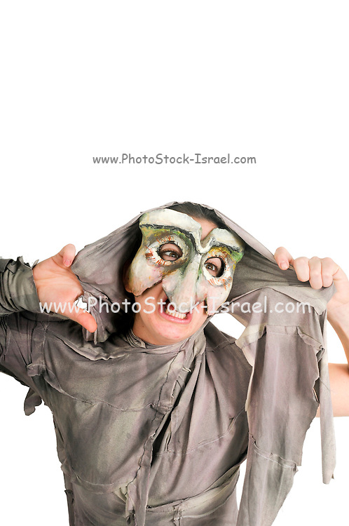 Masked actor in a physical theatre on white background