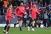 Barcelona forward Luis Suarez (9) and Barcelona forward Lionel Messi (10) run on to the pitch for warm up during the Champions League quarter-final leg 2 of 2 match between Barcelona and Manchester United at Camp Nou, Barcelona, Spain on 16 April 2019.