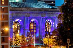 Kansas City's Union Station in Royal Blue lighting for Royals Baseball's 2015 MLB World Series run.