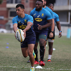 DURBAN, SOUTH AFRICA - AUGUST 13: Embrose Papier during the South African national rugby team training session at  Jonsson Kings Park on August 13, 2018 in Durban, South Africa. (Photo by Steve Haag/Gallo Images)