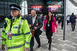 © Licensed to London News Pictures. 24/09/2018. Liverpool, UK. Luciana Berger MP leaves the exhibition centre with a police escort at the Labour Party Conference 2018. Photo credit: Rob Pinney/LNP