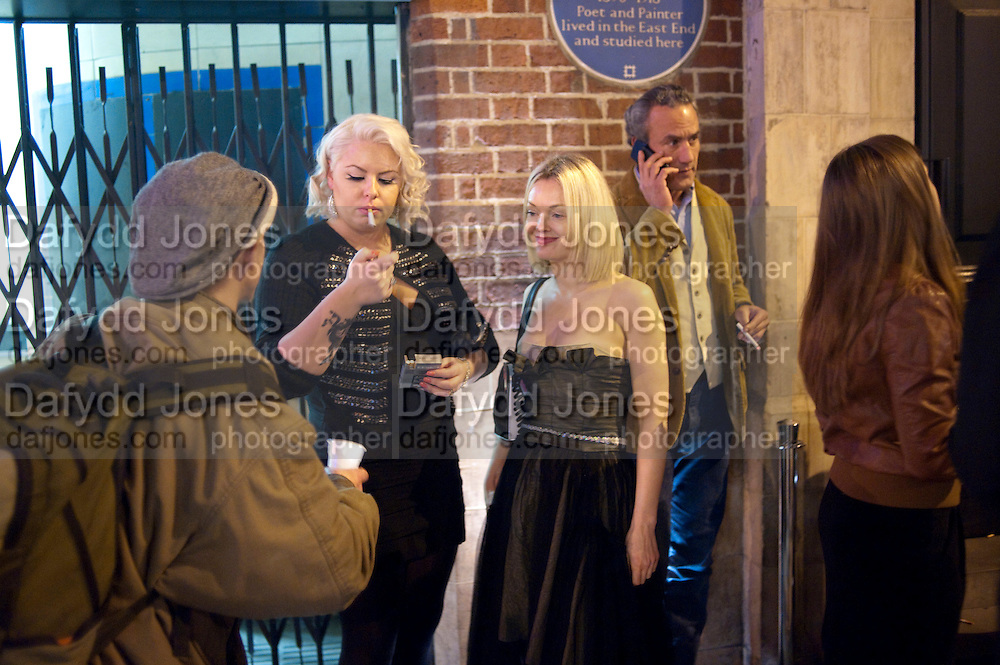 SMOKER'S OUTSIDE WHITECHAPEL, TODÕS Art Plus Drama Party 2011. Whitechapel GalleryÕs annual fundraising party in partnership  with TODÕS and supported by HarperÕs Bazaar. Whitechapel Gallery. London. 24 March 2011. -DO NOT ARCHIVE-© Copyright Photograph by Dafydd Jones. 248 Clapham Rd. London SW9 0PZ. Tel 0207 820 0771. www.dafjones.com.<br /> SMOKER'S OUTSIDE WHITECHAPEL, TOD'S Art Plus Drama Party 2011. Whitechapel Gallery's annual fundraising party in partnership  with TOD'S and supported by Harper's Bazaar. Whitechapel Gallery. London. 24 March 2011. -DO NOT ARCHIVE-© Copyright Photograph by Dafydd Jones. 248 Clapham Rd. London SW9 0PZ. Tel 0207 820 0771. www.dafjones.com.