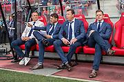 ALKMAAR - 28-08-2016, AZ - NEC, AFAS Stadion, 2-0, AZ trainer John van den Brom, Assistent trainer Dennis Haar, Assistent trainer Leeroy Echteld, Frank Zaal.