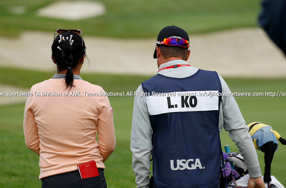 08 Jul 2016: Lydia Ko and her caddie, Jason Hamilton walk the fairway at the LPGA-US Women's Open at CordeValle Golf Club in San Martin, CA.