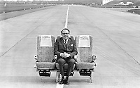 Sir Frederick Laker, British entrepeneur and founder of Laker Airways seen on the runway of Gatwick airport, United Kingdom shortly before the inaugral flight of the 'Skytrain'. March 1975.Photograph by Terry Fincher