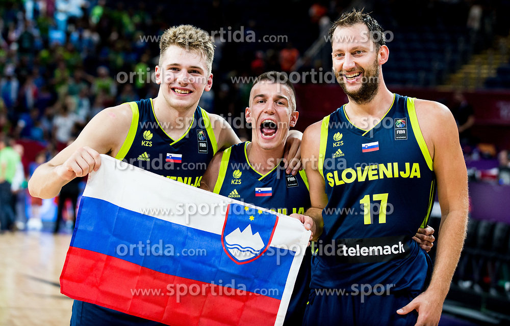 Luka Doncic of Slovenia, Matic Rebec of Slovenia and Sasa Zagorac of Slovenia celebrate after winning during basketball match between National Teams of Slovenia and Spain at Day 15 in Semifinal of the FIBA EuroBasket 2017 at Sinan Erdem Dome in Istanbul, Turkey on September 14, 2017. Photo by Vid Ponikvar / Sportida