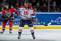 KELOWNA, CANADA - NOVEMBER 17: Jordy Bellerive #15 of the Lethbridge Hurricanes looks for the pass ahead of Cal Foote #25 of the Kelowna Rockets on November 17, 2017 at Prospera Place in Kelowna, British Columbia, Canada.  (Photo by Marissa Baecker/Shoot the Breeze)  *** Local Caption ***
