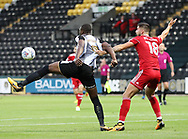 Shola Ameobi (left) of Notts County controls the ball whilst under pressure from Tom Dallison of Accrington Stanley during the Sky Bet League 2 match at Meadow Lane, Nottingham<br /> Picture by James Wilson/Focus Images Ltd 07522 978714‬‬<br /> 25/08/2017