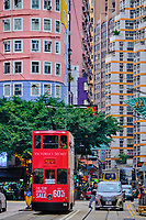 Chine, Hong Kong, Hong Kong Island, tramway sur Johnston Road // China, Hong-Kong, Hong Kong Island, tram on Johnston Road
