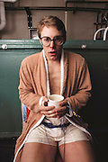 Hypothermia Research at the University of Minnesota Hypothermia laboratory in Duluth; volunteer, Brian Cress, warms up his body temperature after being immersed in cold water at a temperature of 53 degrees Fahrenheit (10 °C). A variety of probes measure his vital functions, skin & core body temperatures. MODEL RELEASED [1988]