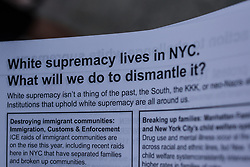 August 19, 2017 - New York City, New York, United States of America - In an effort to inform the community about the encroachment of white supremacy in NYC, as well as the entire nation, a group of citizens organized a demonstration designed to inform the public and engage in discussions with whites, according to their event description.  The event was part of a nationwide effort organized by The Majority, led by the Movement for Black Lives. (Credit Image: © Sachelle Babbar via ZUMA Wire)
