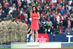 Singer Karen Harding sings the National Anthem after a technical difficulty meant she missed her cue - Mandatory by-line: Robbie Stephenson/JMP - 21/05/2016 - FOOTBALL - Wembley Stadium - London, England - Crystal Palace v Manchester United - The Emirates FA Cup Final