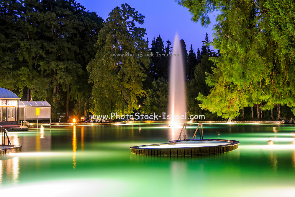 The Garda Thermal Park illuminated at night , Cola, Italy