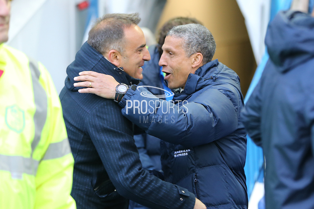 Sheffield Wednesday head coach Carlos Carvalhal greets Brighton Manager, Chris Hughton during the Sky Bet Championship Play Off First Leg match between Sheffield Wednesday and Brighton and Hove Albion at Hillsborough, Sheffield, England on 13 May 2016.