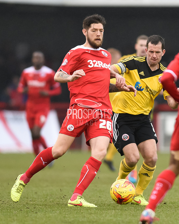 Anthony Wordsworth on the ball during the Sky Bet League 1 match between Crawley Town and Sheffield Utd at Broadfield Stadium, Crawley, England on 28 February 2015. Photo by David Charbit.