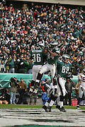 16 Jan 2005: Brian Westbrook and Freddie Mitchell of the Philadelphia Eagles after Westbrook scores a touchdown  during the Philadelphia Eagles 27-14 victory over the Minnesota Vikings at Lincoln Financial Field in Philadelphia, PA. <br /> <br /> Mandatory Credit:Todd Bauders/ContrastPhotography.com