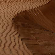 Oman, Wahiba Sands. January/25/2008...A desert landscape emerges; sand dunes carved from the wind.