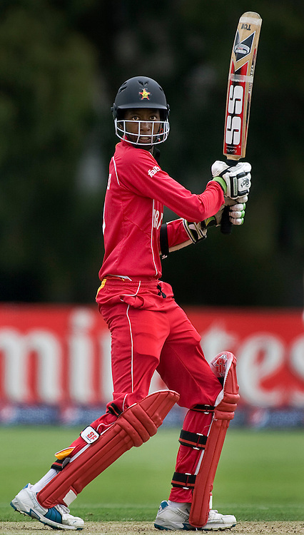 Zimbabwe's Tinotenda Mutombodzi during his innings. New Zealand v Zimbabwe, U19 Cricket World Cup group stage match, Bert Sutcliffe Oval, Lincoln, Tuesday 19 January 2010. Photo : Joseph Johnson/PHOTOSPORT