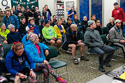 January 19, 2019 - Southern Pines, North Carolina, US - Jan. 19, 2019 - Southern Pines N.C., USA - Ultra marathon runners receive final instructions before the start of the 10th Annual Weymouth Woods 100km ultra marathon at the Weymouth Woods Nature Preserve. Runners needed to complete 14 laps of the 4.47 mile course for 62.58 miles in under the 20-hour time allotment. (Credit Image: © Timothy L. Hale/ZUMA Wire)