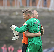 Dundee United's Sean Dillon hugs Dundee United's Radoslaw Cierzniak as the keeper is substituted in his final game for the club - Dundee United v Dundee at Tannadice Park in the SPFL Premiership<br /> <br />  - © David Young - www.davidyoungphoto.co.uk - email: davidyoungphoto@gmail.com