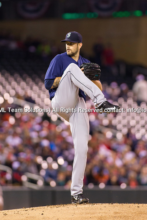 23 SEP 2016: Seattle Mariners starting pitcher James Paxton (65) in the windup in the bottom of the 1st inning during the American League matchup between the Seattle Mariners and the Minnesota Twins at Target Field in Minneapolis, Minnesota. (Photo by: David Berding/Icon Sportswire)