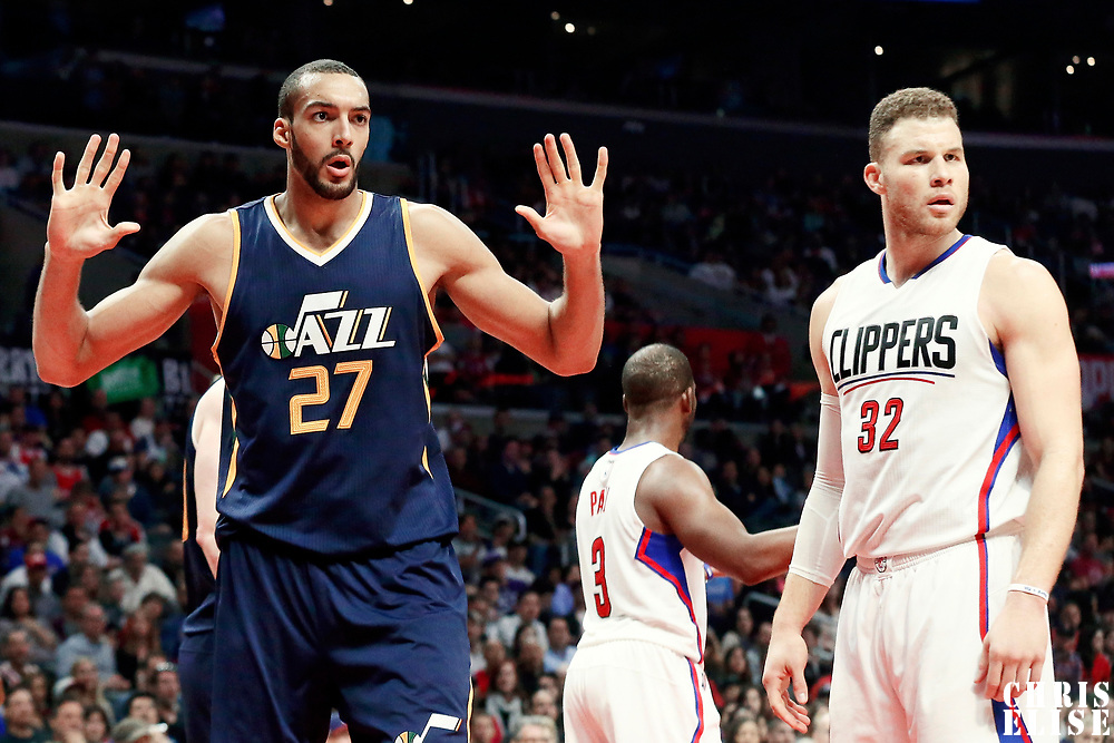 25 March 2016: Utah Jazz center Rudy Gobert (27) reacts next to LA Clippers forward Blake Griffin (32) during the Los Angeles Clippers 108-95 victory over the Utah Jazz, at the Staples Center, Los Angeles, California, USA.