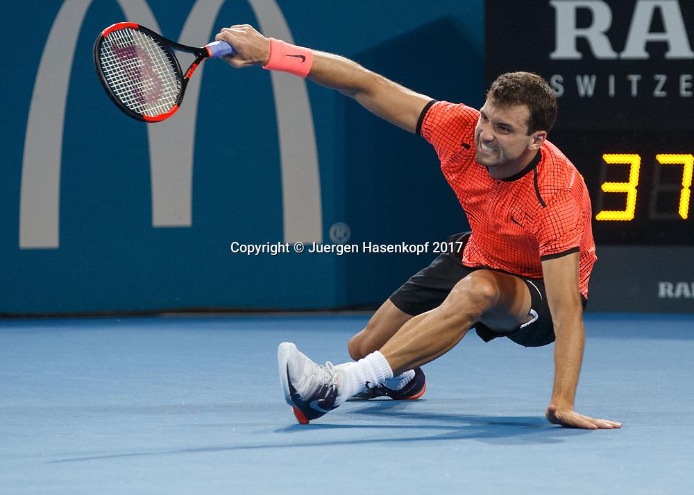 GRIGOR DIMITROV (BUL) stuerzt zu Boden, Sturz, Serie,<br /> <br /> Tennis - Brisbane International  2017 - ATP -  Pat Rafter Arena - Brisbane - QLD - Australia  - 8 January 2017. <br /> &copy; Juergen Hasenkopf