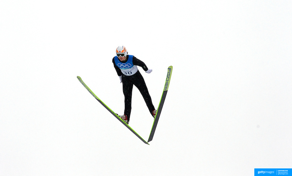 Winter Olympics, Vancouver, 2010.Mikko Kokslien, Norway,  in action during the Nordic Combined Ski Jumping at The Whistler Olympic Park, Whistler, during the Vancouver  Winter Olympics. 12th February 2010. Photo Tim Clayton