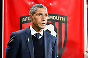 Brighton and Hove Albion manager Chris Hughton in the technical area before the Premier League match between Bournemouth and Brighton and Hove Albion at the Vitality Stadium, Bournemouth, England on 15 September 2017. Photo by Graham Hunt.