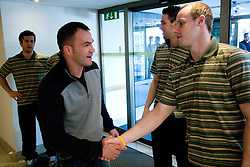 Dejan Zavec and Jan Mursak at meeting of Slovenian Ice-Hockey National team and boxer Dejan Zavec - Jan Zaveck alias Mister Simpatikus, on April 15, 2010, in Hotel Lev, Ljubljana, Slovenia.  (Photo by Vid Ponikvar / Sportida)