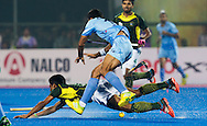 BHUBANESWAR (India) -  Hero Champions Trophy hockey men. Semifinal India vs Pakistan. Gurbaj Singh of India and Muhammad Dilber of Pakistan. Photo Koen Suyk