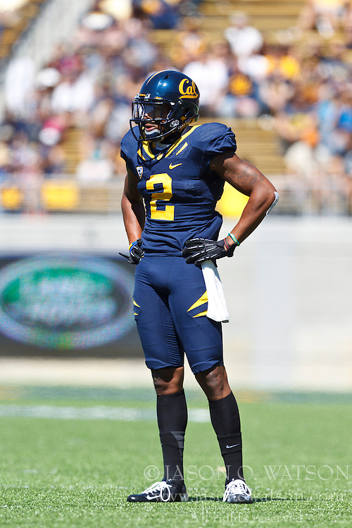 BERKELEY, CA - SEPTEMBER 08: Defensive back Marc Anthony #2 of the California Golden Bears before a play against the Southern Utah Thunderbirds during the first quarter at Memorial Stadium on September 8, 2012 in Berkeley, California. The California Golden Bears defeated the Southern Utah Thunderbirds 50-31. (Photo by Jason O. Watson/Getty Images) *** Local Caption *** Marc Anthony