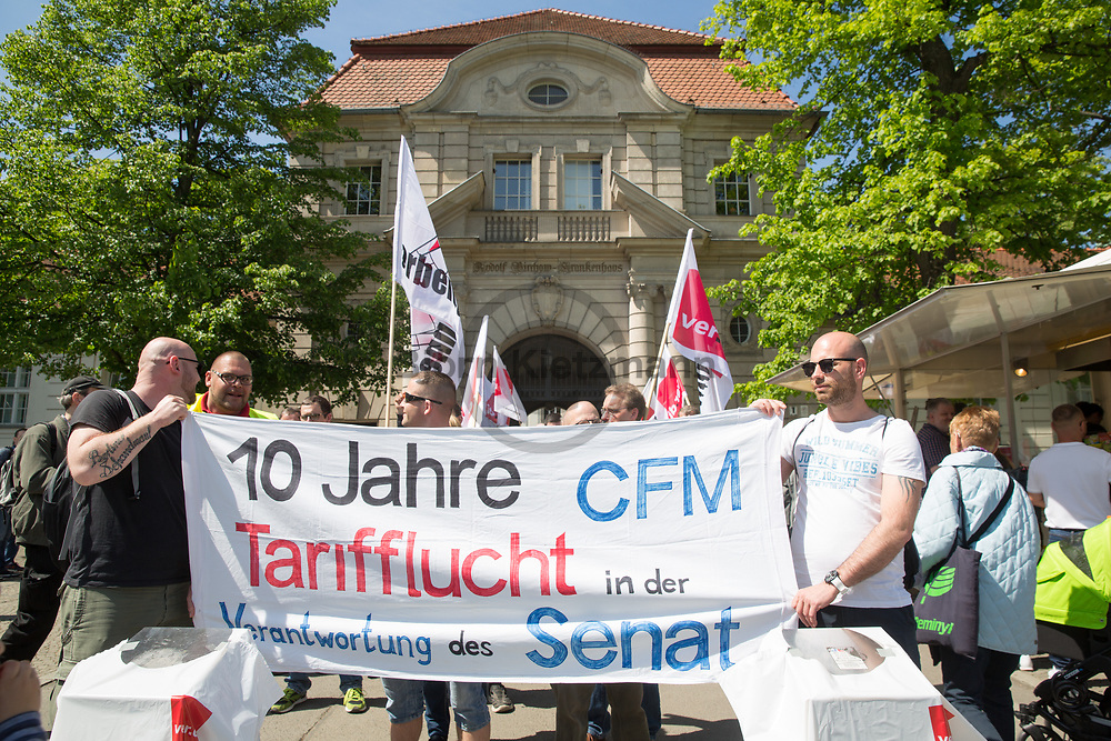 Berlin, Germany - 17.05.2017<br /> <br /> Ver.di Protests at the Virchow-Klinikum in Berlin-Wedding during of the multi-day strike of the Charit&eacute; Facilitiy Management employees.<br /> <br /> ver.di Proteste am Virchow-Klinikum in Berlin-Wedding im Rahmen des mehrtaegigen Streiks der Beschaeftigten des Charit&eacute; Facilitiy Management. <br /> <br /> Photo: Bjoern Kietzmann