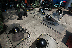 © Licensed to London News Pictures. 24/05/2014.Army riot gear is left on the ground following a Anti-Coup protest in Bangkok Thailand. The Royal Thai army announced a Military coup and have imposed a 10pm curfew.  Photo credit : Asanka Brendon Ratnayake/LNP