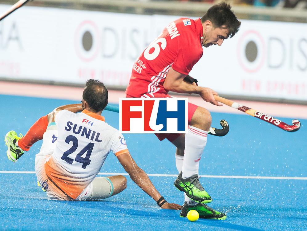BHUBANESWAR - The Odisha Men's Hockey World League Final . Match ID 06 . India v England. Adam Dixon (Eng) with Sunil Sowmarpet (Ind) .    WORLDSPORTPICS COPYRIGHT  KOEN SUYK