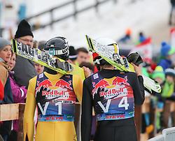 08.01.2015, Kulm, Bad Mitterndorf, AUT, FIS Ski Flug Weltcup, Einfliegen der Schanze, im Bild Wolfgang Loitzl (AUT) und David Fallmann (AUT) // Wolfgang Loitzl (AUT) and David Fallmann (AUT) during the FIS Ski Flying World Cup at the Kulm, Bad Mitterndorf, Austria on on 2015/01/08. EXPA Pictures © 2015, EXPA/ Martin Huber